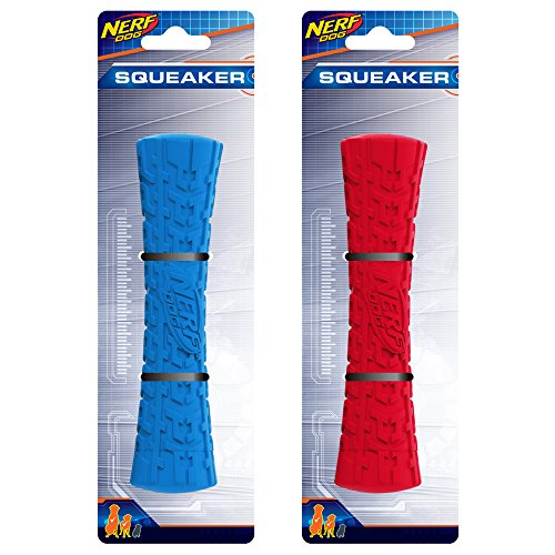 Nerf Dog ASSORTMENT: 7in Tire Squeak Stick, Red and Blue, Dog Toy