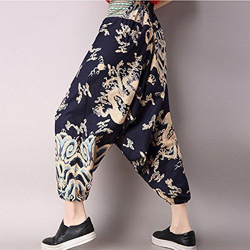 Style Pantalones Oscuro Pantalón M Bluelover La Azul Sueltos Entrepierna Elásticos Las Mujeres Nepal Bohemio Yoga Estilo De 4qEwEFTxO