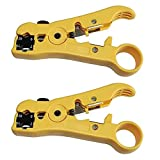 Pack 2pcs Universal Cable Wire Stripper Cutter Stripping Tool for Flat or Round UTP Cat5 Cat6 Wire Coax Coaxial