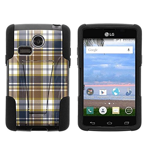 MINITURTLE Case Compatible w/ LG Sunrise Case, LG Lucky Case, Silicone Gel and PC Combination STRIKE Impact Stand Case w/ Dazzling Designs for LG Sunrise L15G, LG Lucky L16C (Straight Talk, TracFone, Net10) Blue Brown Checker Plaid ()
