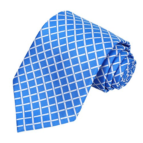 KissTies Mens Plaid Extra Long Tie Necktie + Gift Box, Blue (63'' XL)