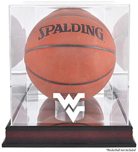 West Virginia Mountaineers Basketball Display Case | Details: Mahogany Base, Antique Finish, with Mirror ()