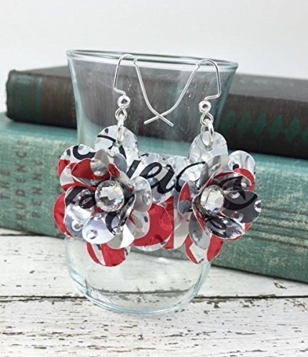 (SWEET and SMALL Flower Earrings. DOUBLE-Sided. Recycled Soda Can Art. DIET COKE)
