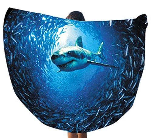 confit you - Damen Rundes Strandtuch Shark Hai Animal Print, One Size, Dunkelblau