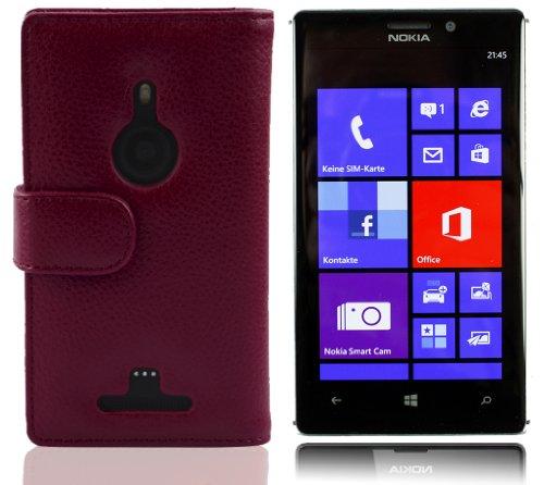 Cadorabo - Funda Nokia Lumia 925 Book Style de Cuero Sintético en Diseño Libro - Etui Case Cover Carcasa Caja Protección con Tarjetero en BURDEOS-VIOLETA BURDEOS-VIOLETA