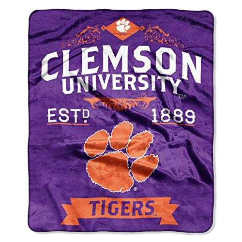The Northwest Company Officially Licensed NCAA Clemson Tigers Varsity Micro Raschel Throw Blanket, 46