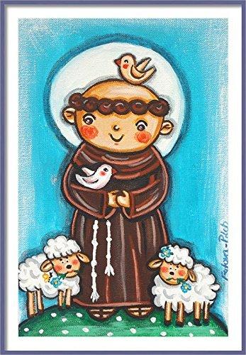Saint Francis print St Francis print St Francis painting Saint Francis painting Saint picture Catholic art Catholic saint print Catholic painting Children patron saint Catholic print Christening gift