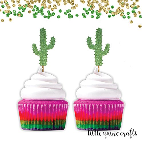 12-pc-cactus-cacti-thorn-cupcake-topper-green-glitter-festive-party-theme-birthday-baby-shower-spring-summer-succulent