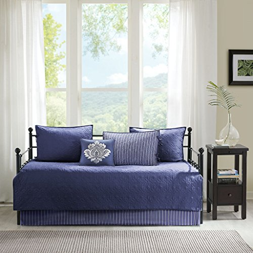 Madison Park Quebec Daybed Size Quilt Bedding Set - Navy, Damask - 6 Piece Bedding Quilt Coverlets - Ultra Soft Microfiber Bed Quilts Quilted Coverlet