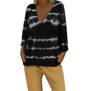 1d10a6dbc3053 Amazon.com  AMOFINY Women V-Neck Tie-Dyed Long Sleeves Plus Size ...