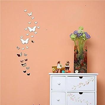 stickers muraux stickers miroir papillon d diy surface dcoration chambre dcorations argent. Black Bedroom Furniture Sets. Home Design Ideas
