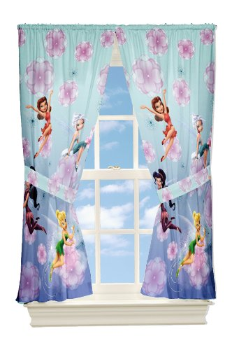 Disney Fairies Looking Glass Microfiber Drapes, 63-Inch