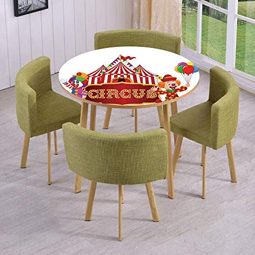 iPrint Round Table/Wall/Floor Decal Strikers/Removable/Circus Tent with Clown Advertisement Event Man Billboard Waving Classic/for Living Room/Kitchens/Office -
