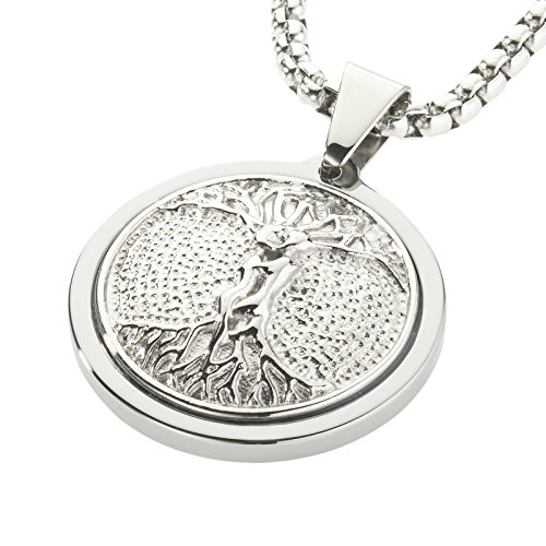 (Unique Tungsten Medallion Necklace. Platinum Style Stainless Steel Tree of Life Inlay. 26)