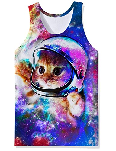 Graphic Spring Tee - Freshhoodies Mens Space Cat Graphic Tank Tops Galaxy Astronaut Cat Novelty Tank Shirts Beach Tee Shirt Purple Blue Big and Tall Sports Running Hipster Sleeveless T-Shirts for Young Man Boys, Small