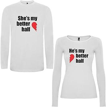 DALIM Pack de 2 Camisetas Blancas Manga Larga para Parejas Shes my Better Half y Hes my Better Half Negro/Rojo: Amazon.es: Ropa y accesorios
