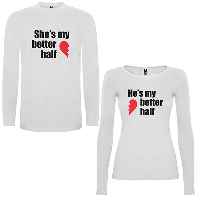 DALIM Pack de 2 Camisetas Blancas para Parejas Shes my Better Half y Hes my Better