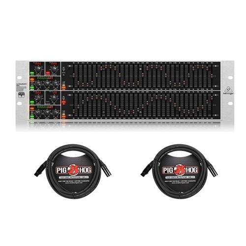 Behringer ULTRAGRAPH PRO FBQ6200HD HD Dual Channel 31-Band Stereo Graphic Equalizer with FBQ Feedback Detection System, Limiters and Pink-Noise Generator - with 2X 15' 8mm XLR Microphone Cable ()