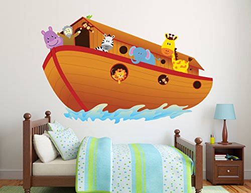 Noah's Ark Wall Decal - Baby Boy Girl - Colorful Design Mural Wall Decal Sticker For Home Car Laptop (Wide 57