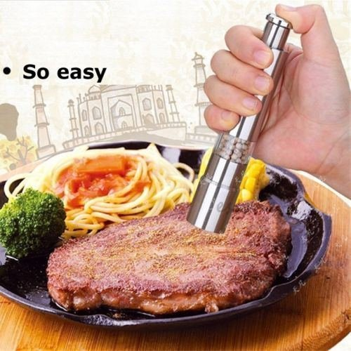 Stainless Steel Thumb Push Salt Pepper Spice Sauce Grinder Mill Muller Stick:New by WW shop