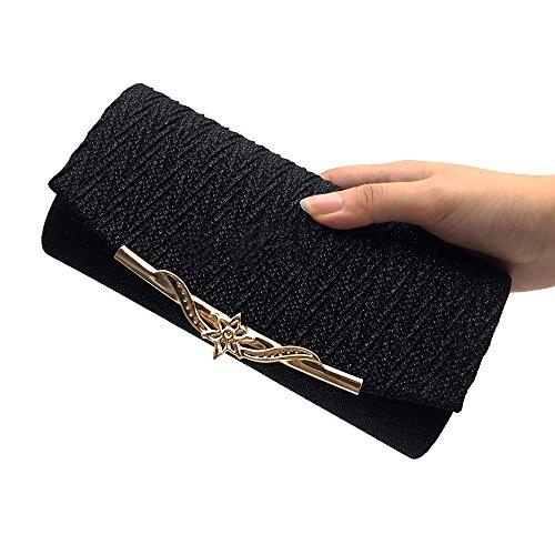 RARITY-US Women Bling Shining Evening Bag Metal Satin Cross-body Bag Clutch Purse for Wedding Party banquet Handbags -
