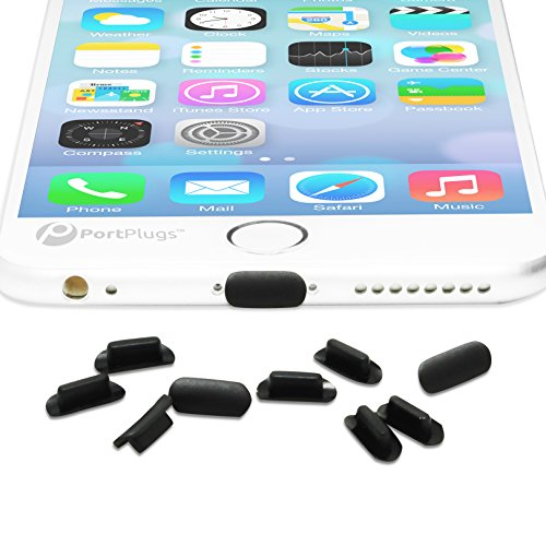 PortPlugs – Anti Dust Plugs – Compatible with iPhone 7, 8 Plus, X, XS, XR (10 Pack) – Port Cleaning Brush Included…