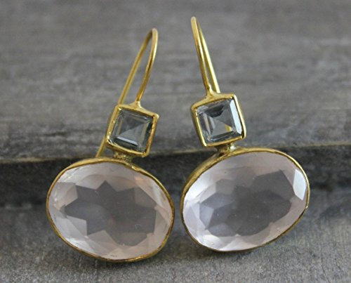 Blue Topaz Rose Quartz Gold Plated Silver Earrings Prime Special Reg. Price 79.99