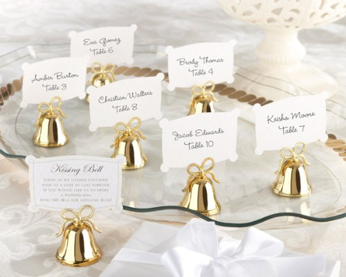 Gold Bell Place Card Holders - Kate Aspen Gold Kissing Bells Place Card/Photo Holder (Set of 24)