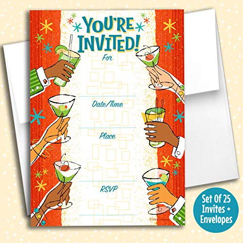 Retro Cocktails Fill in Invitations, 25 Invites with Envelopes. Retro 1950s Style is Great for Any Occasion, Birthday, Engagement, Anniversary, Cocktail Party, Dinner Party, Special Event.