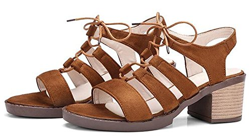 Easemax Womens Fashion Mid Chunky Heels Faux Suede Lace Up Gladiator Sandals Camel k4RRPB