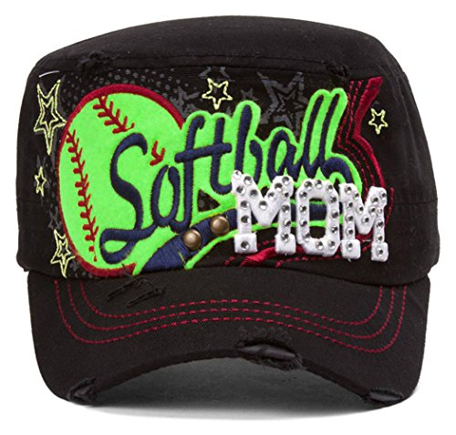 TOP HEADWEAR TopHeadwear Softball Mom Distressed Adjustable Cadet Cap - Black by TOP HEADWEAR
