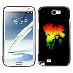 Planetar® ( Rasta Lion ) Samsung Galaxy Note 2 II / N7100 Fundas Cover Cubre Hard Case Cover