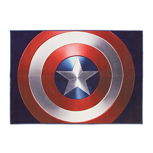 Gertmenian: Marvel Captain America Shield Rug HD Digital Bedding Area Rugs 54x78 inch, Large, Navy Blue from Gertmenian