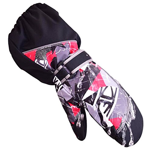 YAPJEB Kids Ski Mitten Waterproof Sports Winter Glove Mittens for Snowboarding Skating (Black ,XXS)