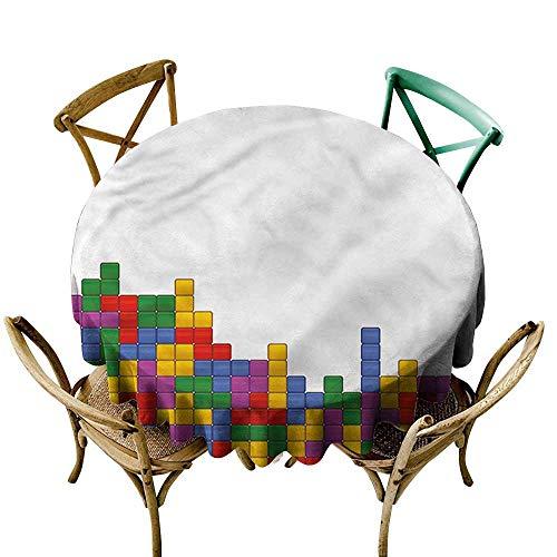 familytaste Boys Room,Tablecloths for Circular TableVintage Tech Puzzle D 36