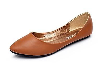 Aisun Damen klassische Lederoptik Low-Cut Spitz Slipper Ballerinas Braun 39 EU Xjk28v7CS