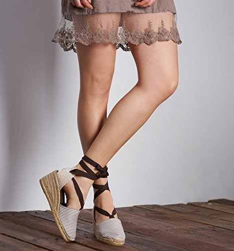 Classic Beige Soft In blanc Heel Closed Spain Toe Escala tie À 2 Made Rayures Ankle Viscata 5