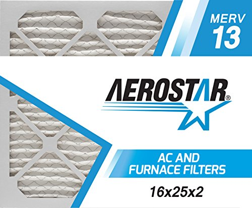 Aerostar 16x25x2 MERV 13, Pleated Air Filter, 16x25x2, Box of 6, Made in The USA