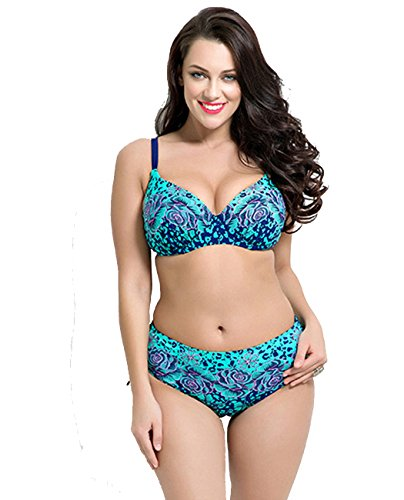 Leories Women's Push up Beachwear Retro Print Patterns Bikini Bathing Suit Blue(14-16)