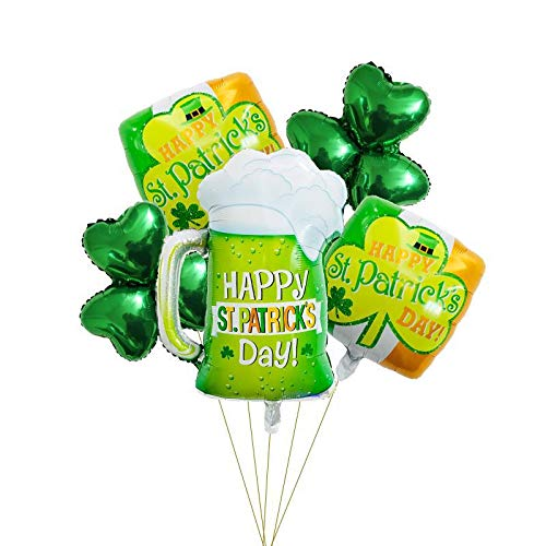 Rose&Wood St. Patrick's Day Balloons Set Shamrock Pattern Balloons Beer Balloons for Irish Party Decoration -