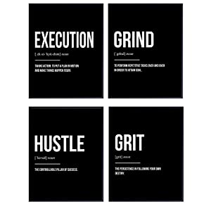 Motivational Office Decor Wall Art Print Set for Entrepreneurs, Team Managers - Inspirational Posters and Unique Room and Apartment Decorations - Great Gift for Men, Women - 8x10 Photo Unframed