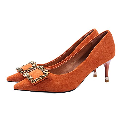 6Cm Le Pointe L'Automne Sexy Chaussures Lumière Unique Travail Et Faible Chaussures Pendant Femmes SFSYDDY Du Chaussures Avec La Avec Printemps Orange 35 Bon CBPxqAwng