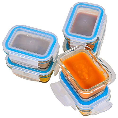 Elacra [6-Pack, 4oz] Glass Baby Food Storage Containers - Small Glass Containers with BPA-Free & Locking Lids - Freezer and Microwave Safeæ ()