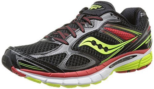 Saucony Men's Guide 7 Running Shoe,Black/Citron/Red,11.5 M US