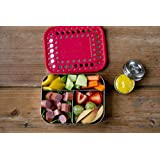 LunchBots Trio Stainless Steel Snack Container, 3 section, Stainless Steel Lid, Red Dots Cover, Dishwasher Safe