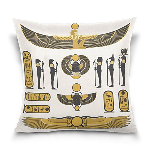 Marsh Flannel Fabric (18x18 Square Throw Pillow Case Cover,Ancient Egyptian Mummy Pharaoh Sun God,Soft Cushion Pillowcase)