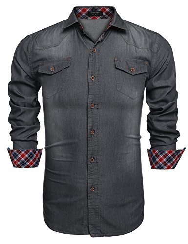 COOFANDY Men's Casual Dress Shirt Button Down Shirts,Type 07-gray,XX-Large