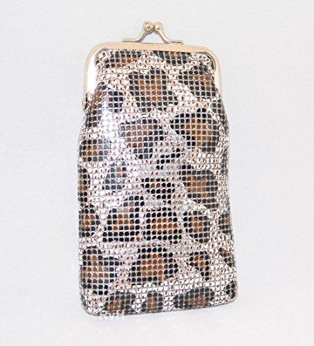 (Ultra Soft Mesh 100s Cigarette Case with LIGHTER POCKET (3mm) Silver Leopard Pattern KANI100)