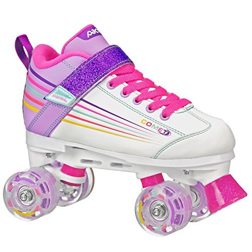 Pacer Comet Quad Kids Roller Skate, with Light Up Wheels, P973, white sz 2 -