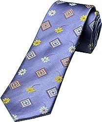 Zarrano Skinny Tie 100% Silk Woven Lavender/Yellow Floral Tie
